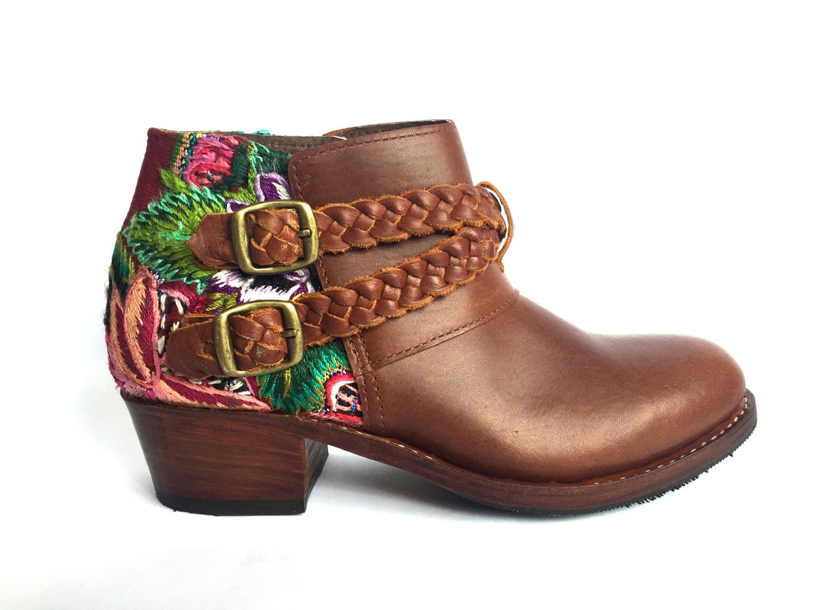 Leather Ankle Boots~Floral Boots~Ankle Boots~Leather Boots~Festival Boots~Boho Boots