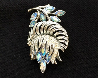 Rhinestone brooch, pale blue, Coro 1950's