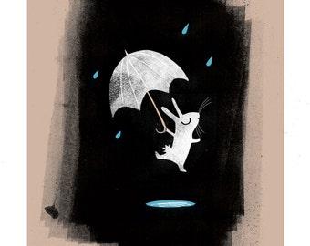 Rainy Rabbit A3 giclée print