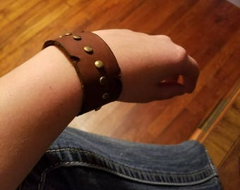 Custom Studded Cuff Leather Bracelet