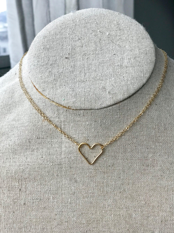 b72b95eee2968 Open Heart Choker Necklace in Gold Fill or Sterling Silver