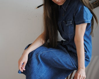Vintage 1960s 1990s womens jeans dress blue denim sarafan TRADER