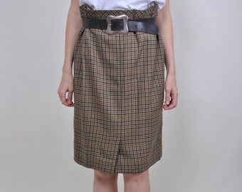 a129cb51d Vintage plaid skirt, 90s school skirt, women formal outfit, Size W 32