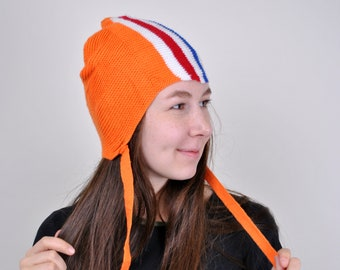 d208c0209c6 Orange White Blue Red The Netherland Knitted Hat 90s 80s Vintage Womens  Wmns Retro Patterned Striped Trapper hat Winter Autumn Sport Outfit