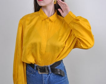 f42aa752a Yellow Color Bright Oversize Blouse 90s 80s Vintage Womens wmns Retro Long  Shirt Long Sleeve top Spring Autumn Outfit Hipster Boho Suit tee