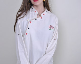 0fcfd0ea0 Vintage white shirt, chef shirt, massage blouse, worker shirt, womens  button down, heritage shirt, long sleeve, blouse for work, Size L