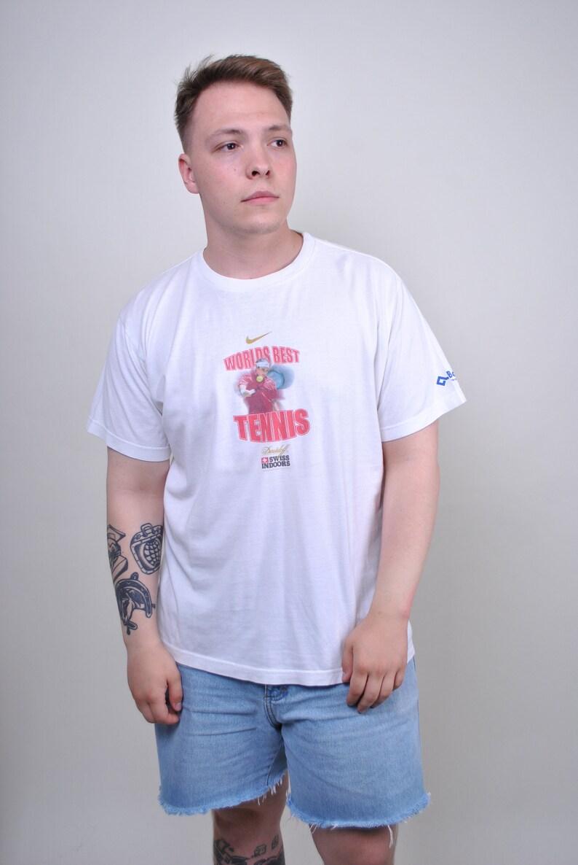b9f398eda5f5 Vintage NIKE tee 90s 80s Mens t-shirt White tennis shirt | Etsy