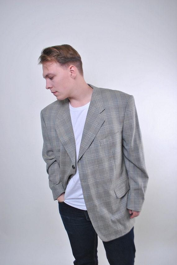 Grey plaid man suit classic vintage blazer, Size X