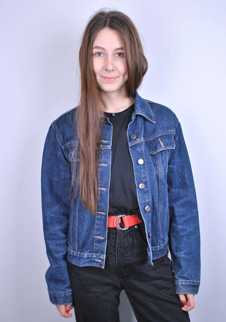 2c01213ad5 Vintage Jeans Jacket 90s Women s Denim jacket 80s Retro