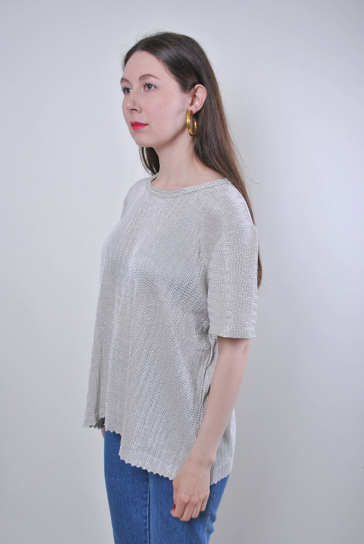 Women vintage green minimalist formal blouse Size L