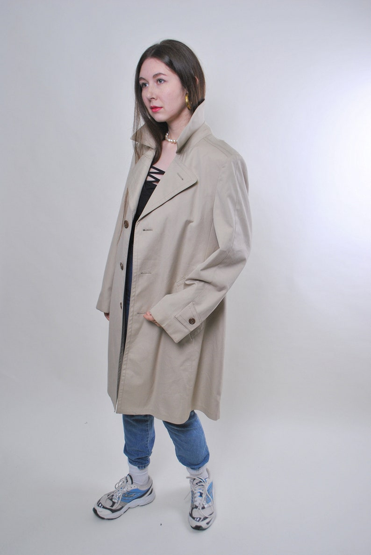 Size L Women vintage beige fall minimalist trench jacket