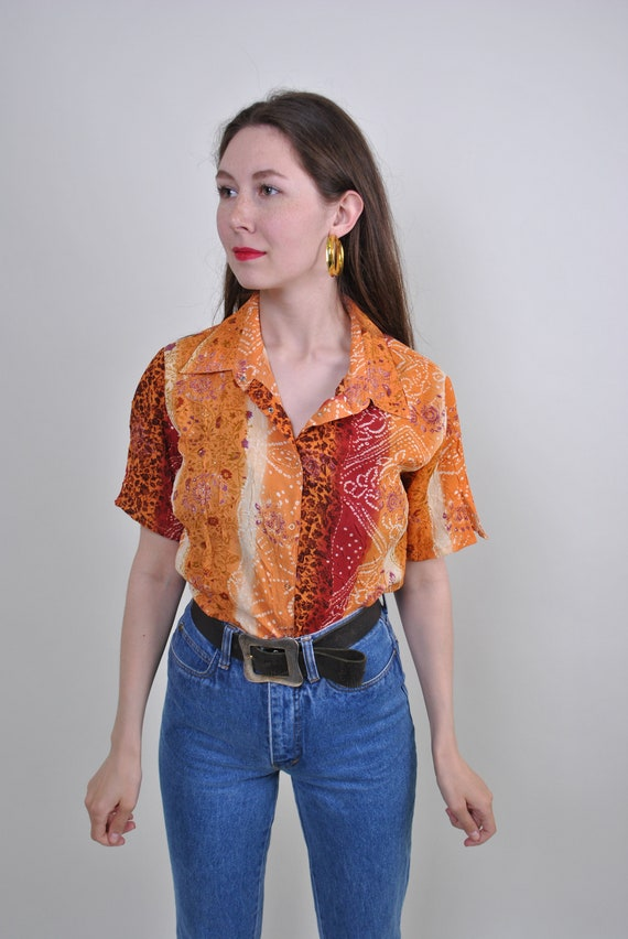 80s floral print orange short sleeve blouse, Size