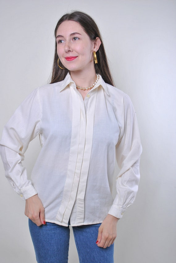 Minimalist Sheer Brown Striped Lightweight Button Up Blouse  Women/'s size Small Medium M