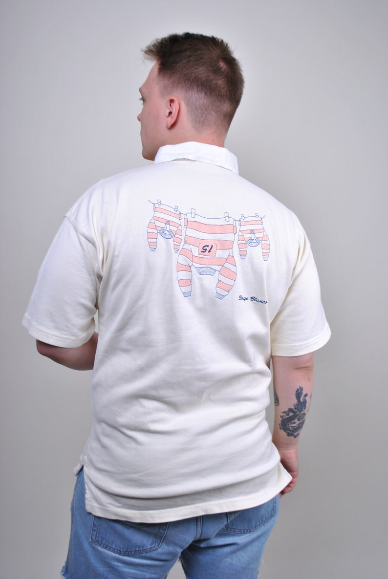 Pink Embroidery 90s 80s Retro Short sleeve Men/'s Pattern shirt Funny tee Sox embroidery Vintage White Polo Sport t-shirt Size M
