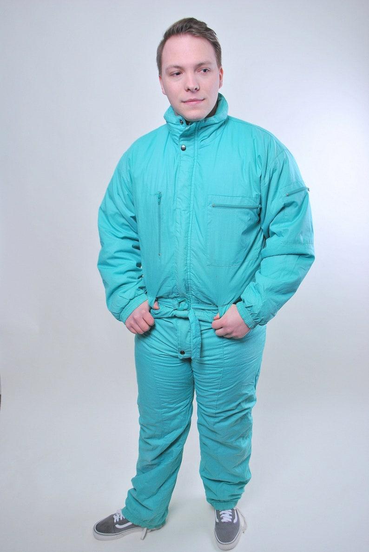 retro 80s nylon snow suit Vintage one piece green ski suit Size L