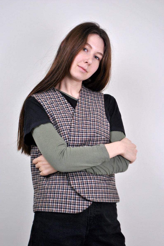 Vintage brown houndstoos print suit best Size M