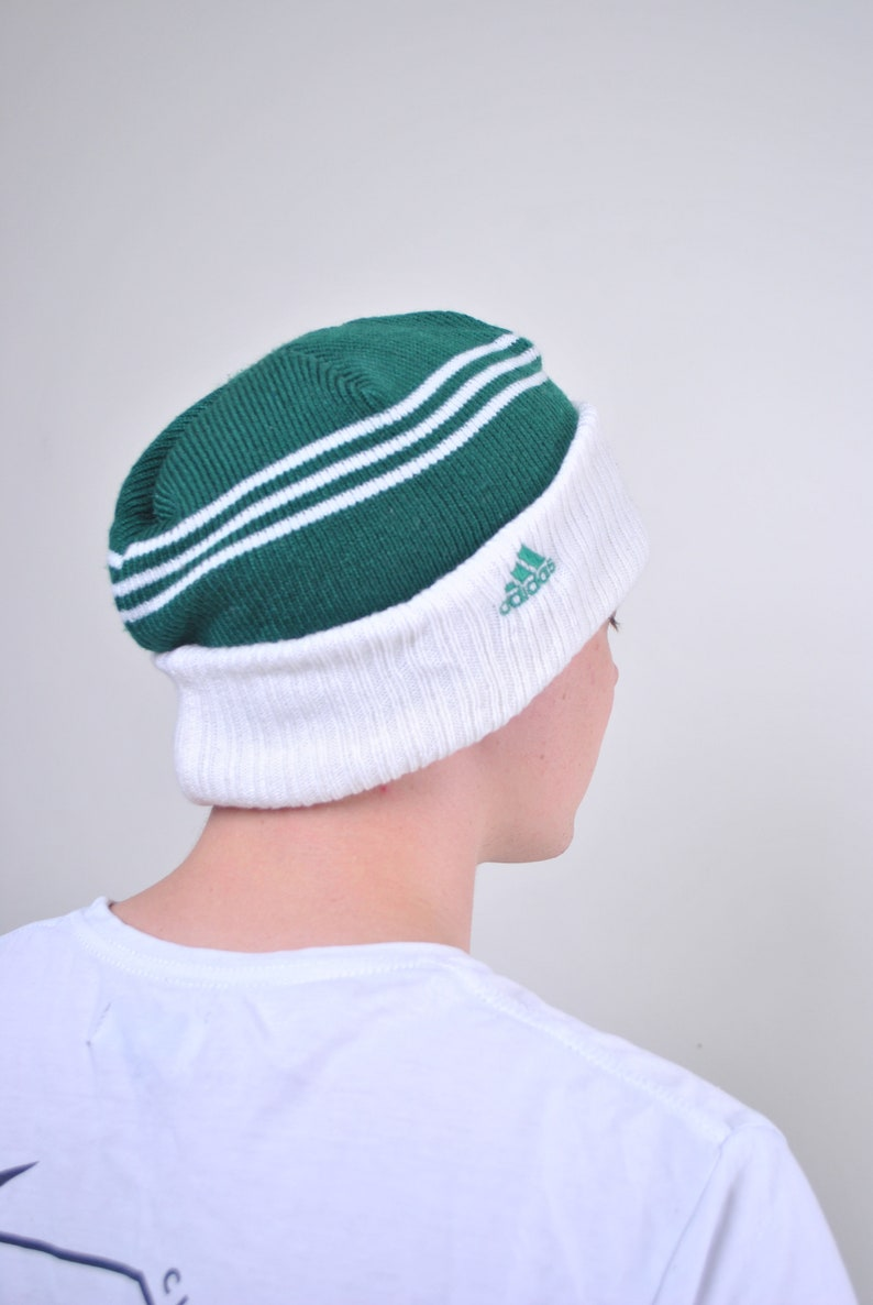 103f8d45 ADIDAS Green White Striped sport hat 90s 80s Vintage Mens Womens Unisex  Retro Patterned Winter hat Beanie Knitted Autumn Outfit Festival top