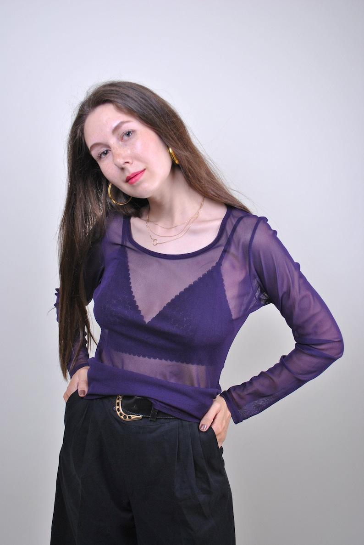 90s purple transparent rave blouse Size S