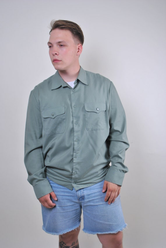 Khaki green 90s vintage military shirt, Size XL