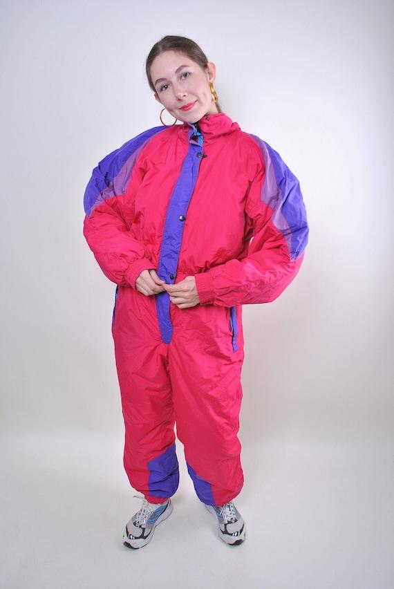 Vintage pink one piece ski suit, woman hooded pink