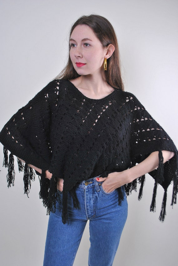 70s vintage hippie knitted black poncho