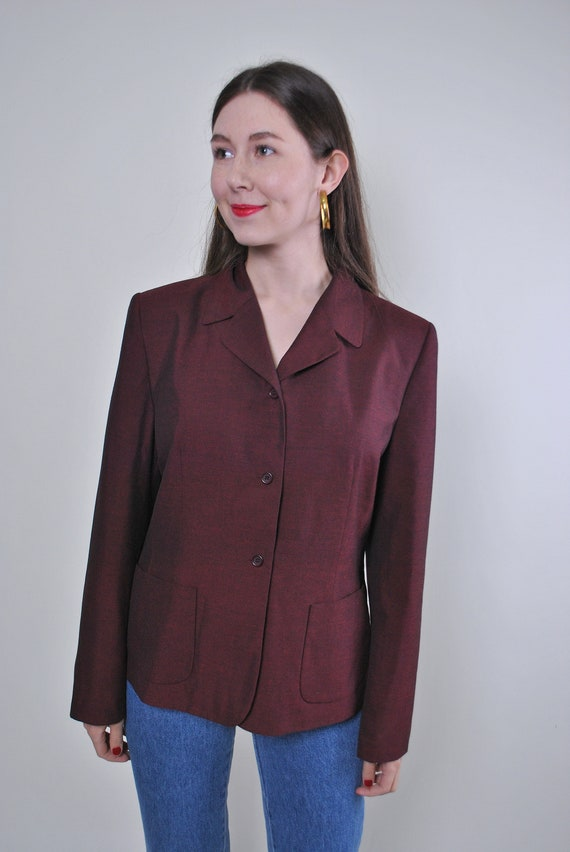 Women vintage red party suit blazer jacket, Size M