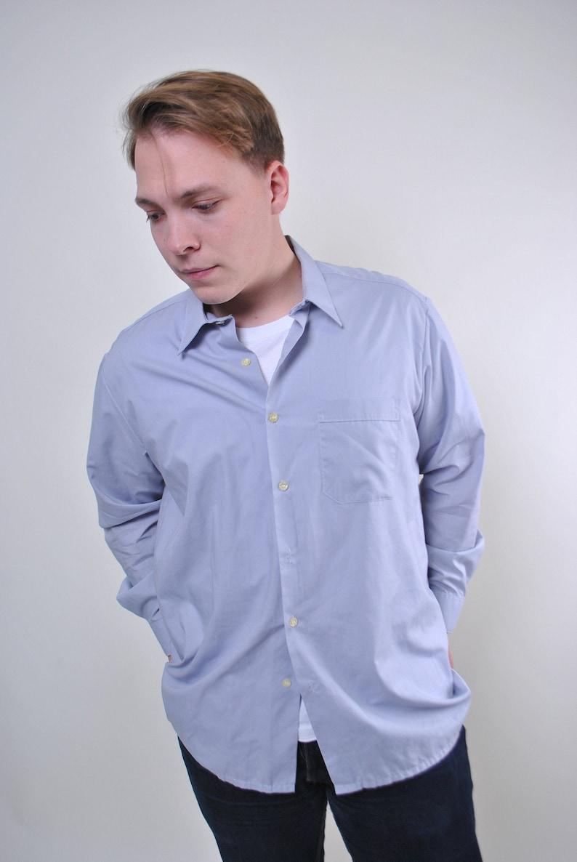 Size L Vintage men gray minimalist long sleeve shirt