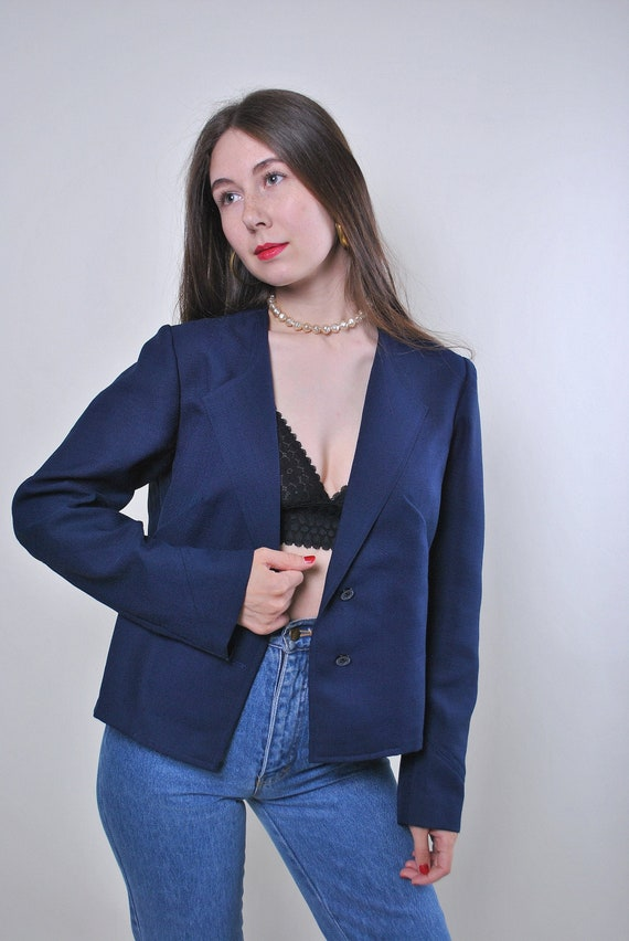 Vintage blue evening party suit blazer, Size M