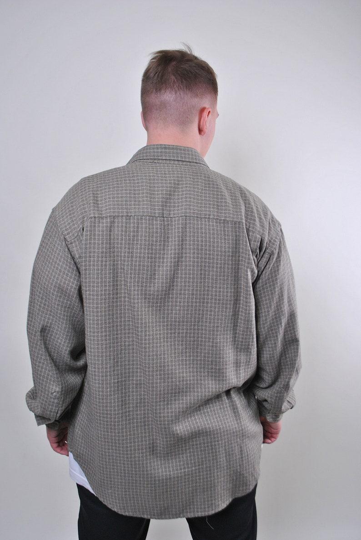 Vintage man grey plaid oversize long sleeve utility shirt Size L
