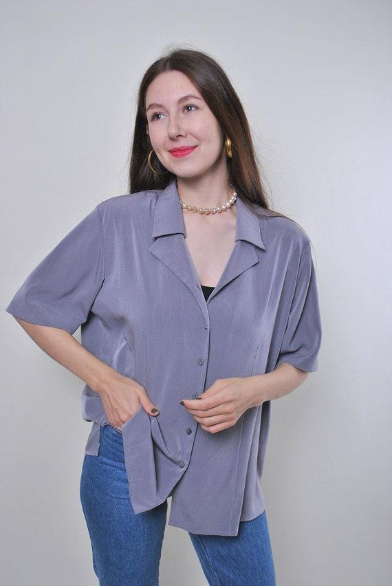 Vintage minimalist secretary grey blouse, Size L