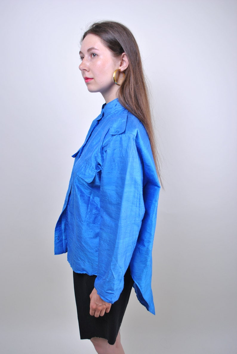 80s bluse silk blouse with long sleeve Size S