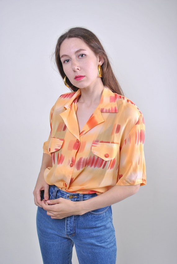 80s orange pattern vocation women blouse, Size L