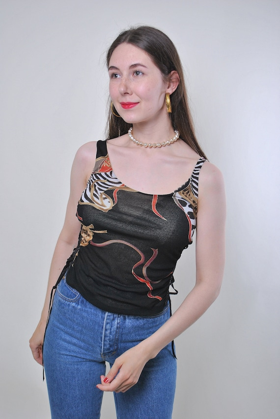 Vintage 90s black dragon print rave tank top, Size