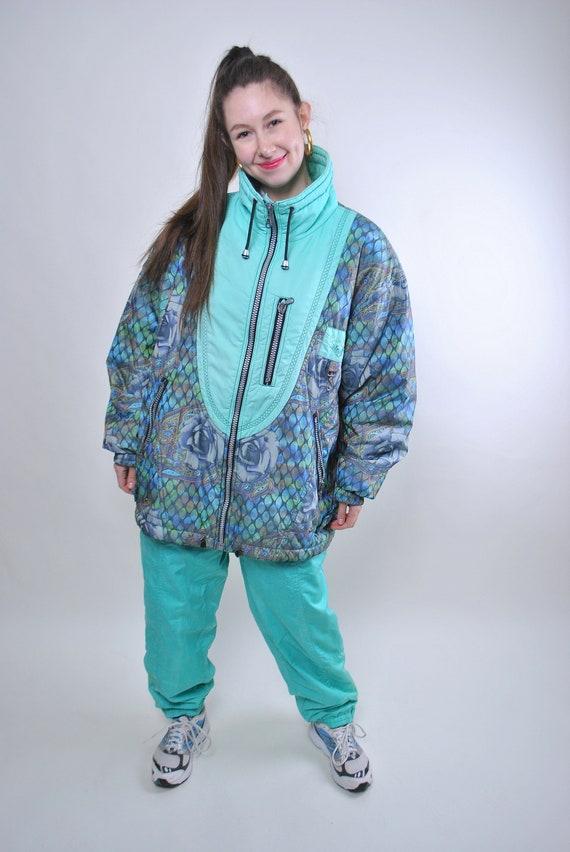 Vintage Multicolar Parka  Floral Pattern Coat  Windbreaker Ski Jacket  Snow Jacket  Size 40  Snowboarding Parka  Vintage Activewear