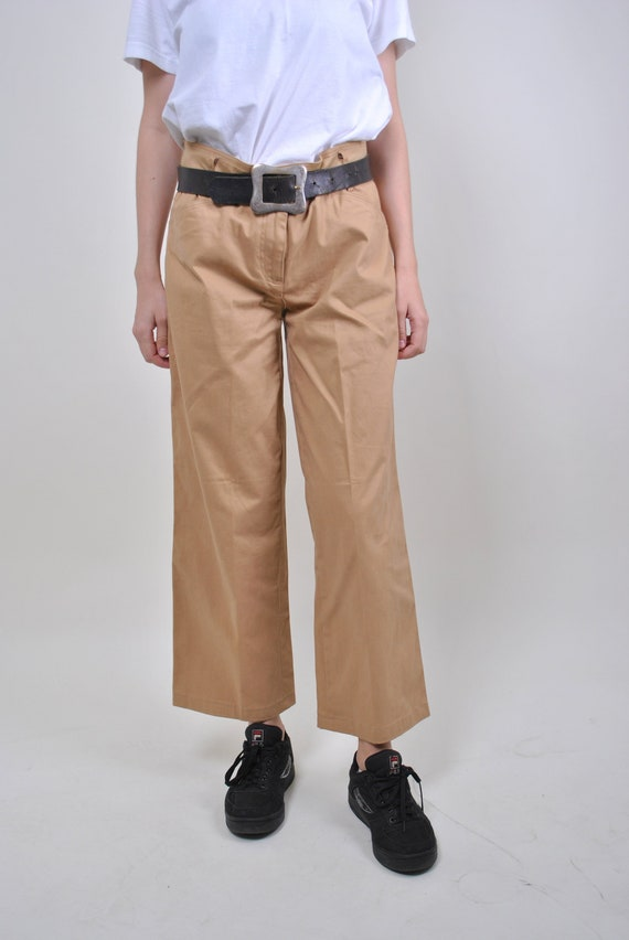 80s brown military style straight chino pants, Siz