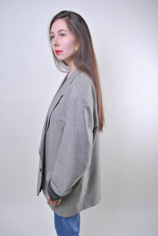 80s vintage oversize plaid women suit blazer ONE SIZE