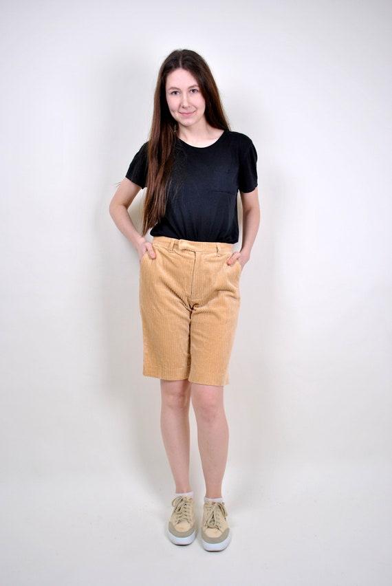 80s straight beige corduroy shorts, Size 28
