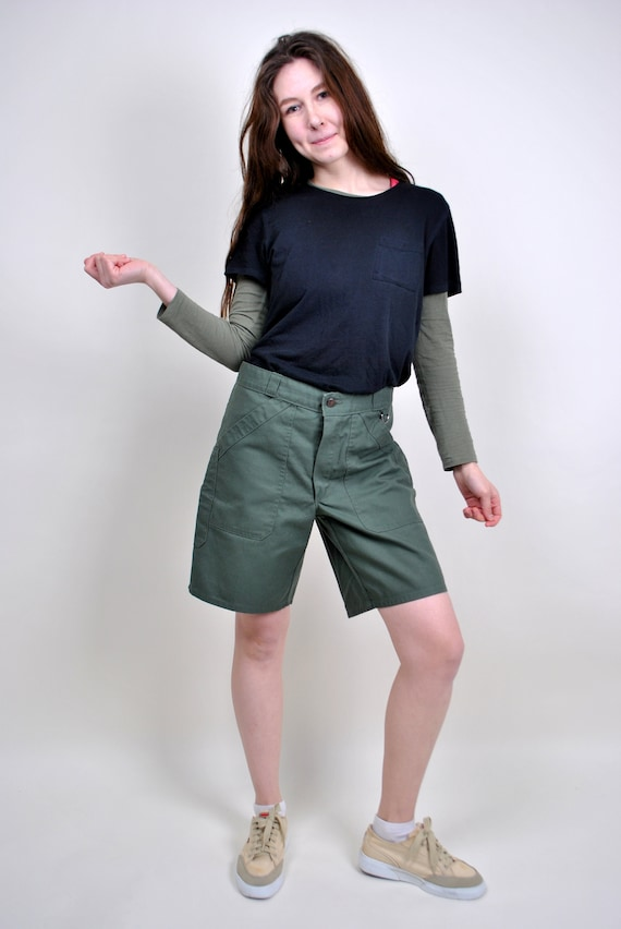 80s khaki green military style high waist chino sh