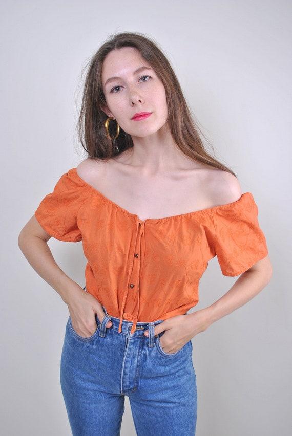 80s vintage women orange off shoulder blouse, Size