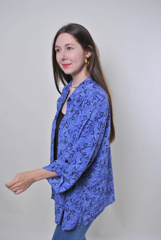 Size L 80s vintage double evening purple blouse With floral print