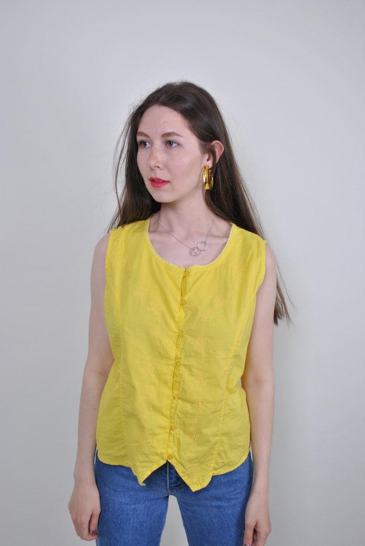 Size M Vintage minimalist yellow bright vest