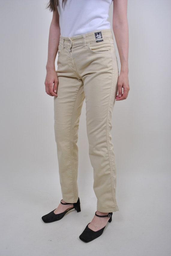 70s yellow flare jeans, vintage boho high waist sk