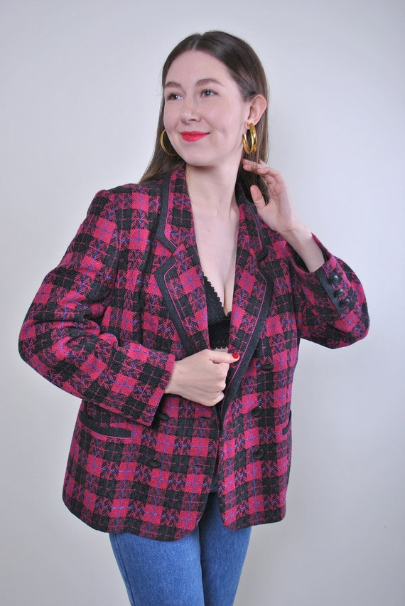 Women retro red plaid oversized blazer jacket, Siz