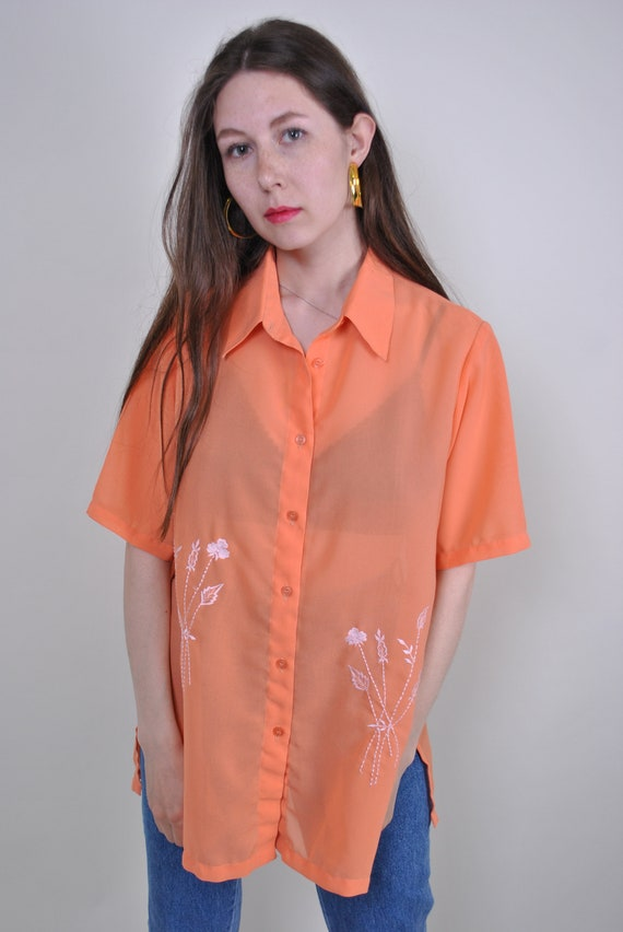 80s orange transparent blouse with minimalist embr