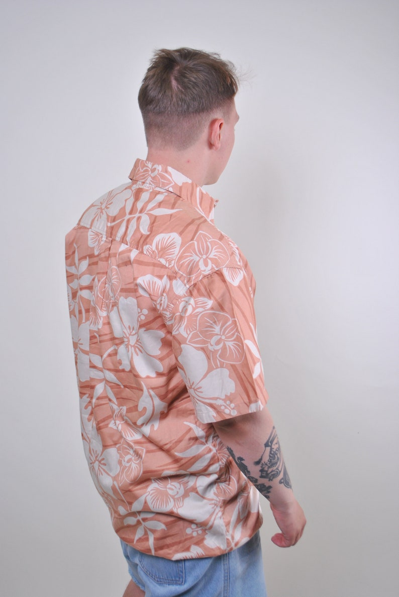 Floral shirt summer outfit hawaii print short sleeve flowers patterm orange white sea blouse boho top Size L button down