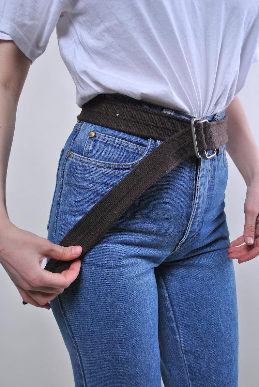 Vintage oversized minimalist brown cotton belt