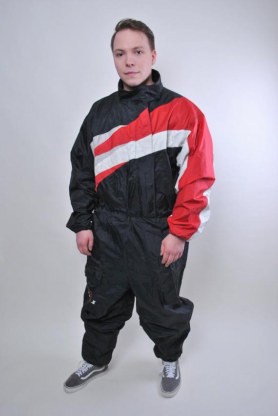 Vintage one piece black rain suit, 80s waterproof