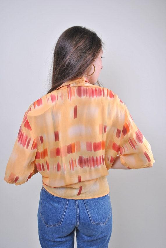 80s orange pattern vocation women blouse, Size L - image 2