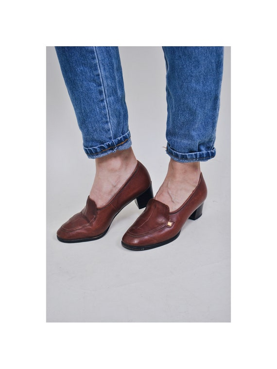 shoes shoes moccasins 80's retro Vintage 90's shoes heel women's boots ankle Suit outfit shoes booties casual brown lether Size 7wq6v7