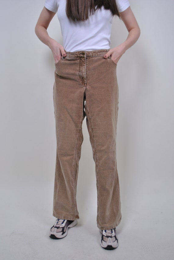 Vintage corduroy brown pants, plus size trousers,